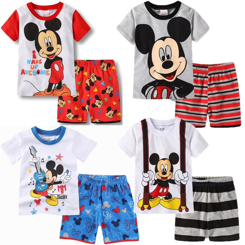 Children's Girls Pajamas Set Cartoon Minnie Clothes Kids Sweet Pajamas Home Service Girls Summer Casual Wear 1-6T Girls Wear