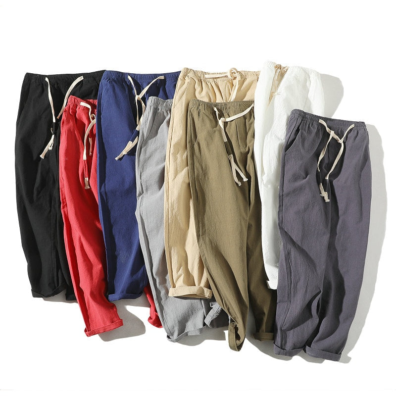 2019 Summer Joggers Men Pants Cotton Linen Casual Slim Streetwear Teenager Sweatpants Ankle-length Trousers Men