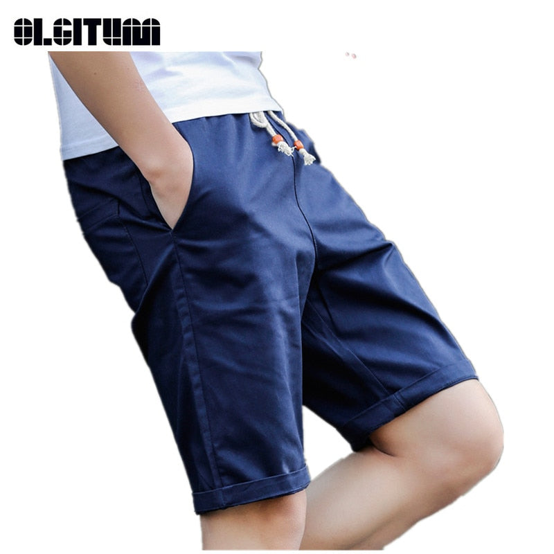 Hot Sale 2019 New Casual Men Shorts Summer Elastic Waist Slim Bottoms Mid Wasit Beach Shorts for Male M-5XL Plus Size