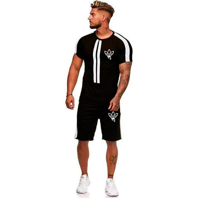 Brand Men Sport Running Suits Basketball Soccer Training T Shirts + Pants Tracksuits Jersey Summer Fitness Sportswear Gym Sets