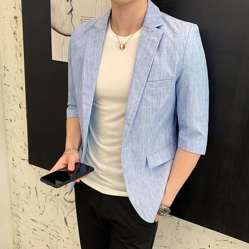 Spring summer new men's suit jacket thin style youth slim Half sleeve Blazers male Korean version fashionable Solid suit coat