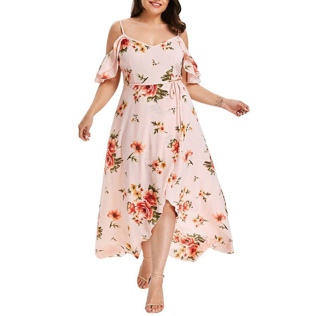2019 New Women Sundress Overlapping V Neck Fork Opening Floral Maxi Dress Waist Collection Large Size Summer Dresses