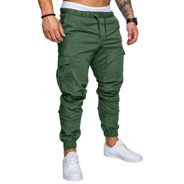 Laamei New Men Multi-pocket Pants Elastic Waist Sweatpants Trousers Male Hip Hop Men's Casual Solid Streetwear Joggers Pants