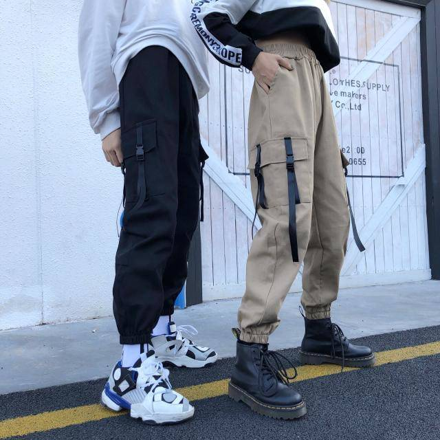Mens Cargo Harem Pants Casual Joggers Baggy Tactical Trousers Harajuku Pants Streetwear Hip Hop Mens Pants With Side Pockets