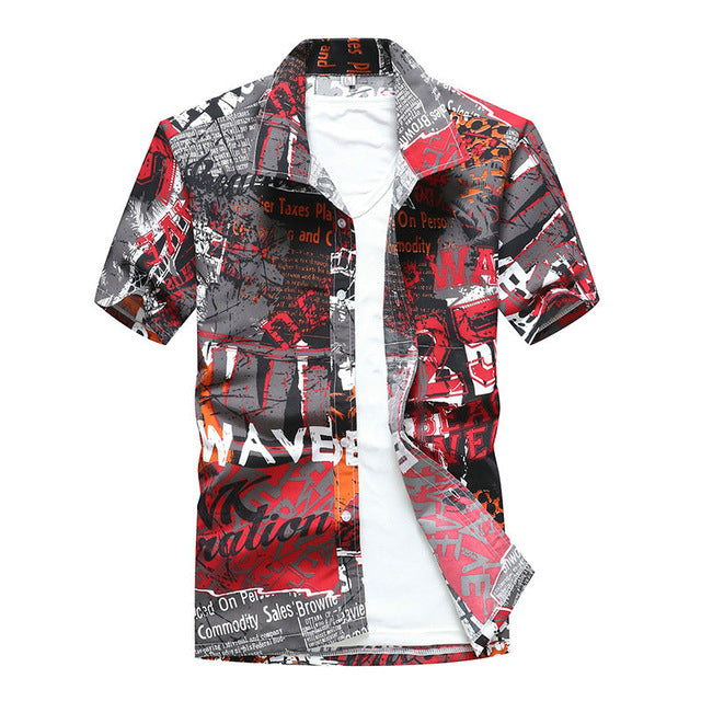 Beach Shirts 2019 Summer Fashion camisa masculina Coconut Tree Printed Short Sleeve Button Down Hawaiian Shirts Mens Plus size