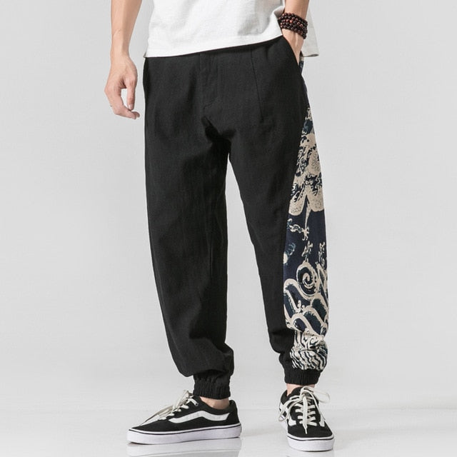 Sinicism Store Print Pants Men 2019 Man Cotton And Lined Solid Joggers Pants Male Harajuku Korean Fashions High Quality Trousers