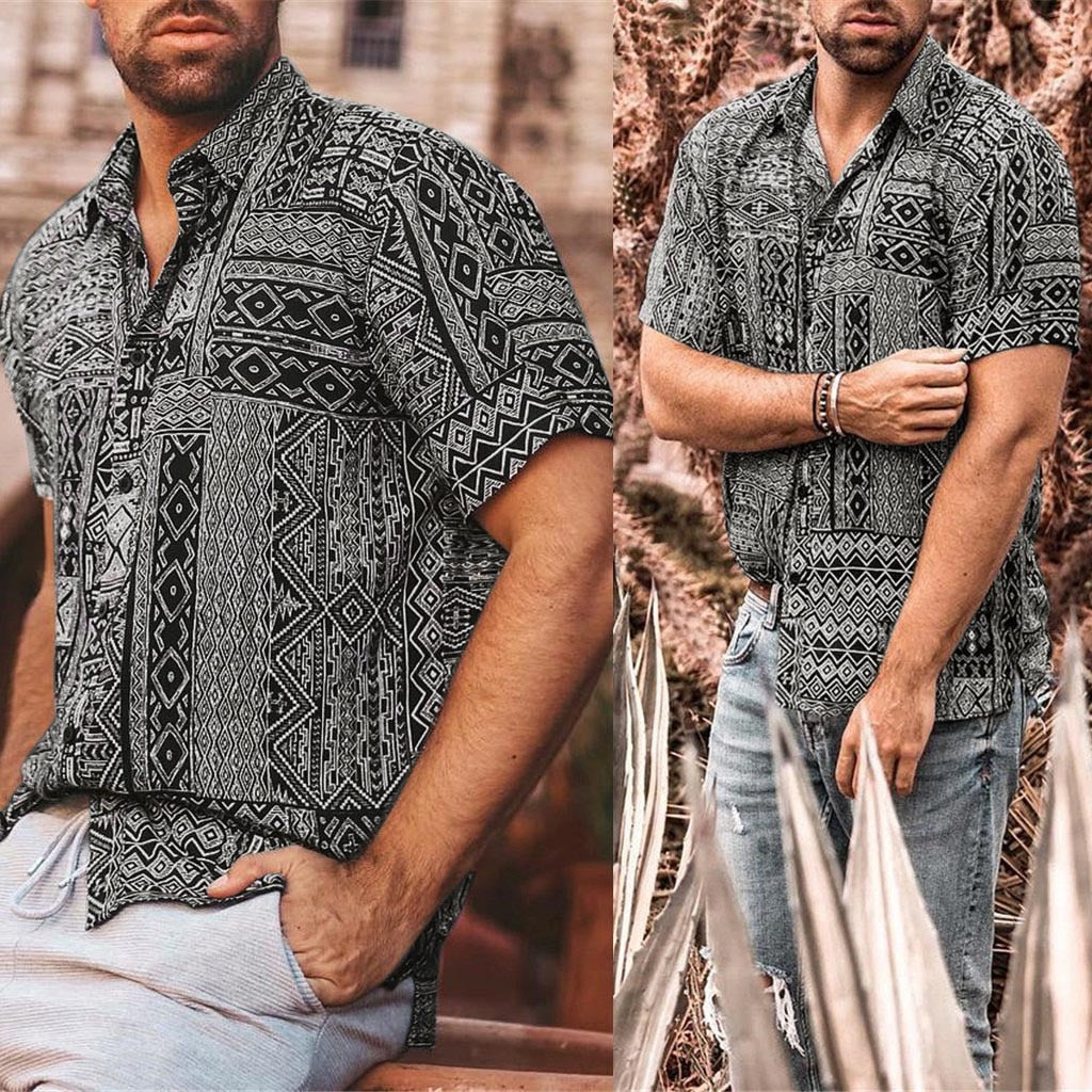 2019 New Stylish Hauts pour hommes Men's Summer Fashion Casual Lapel Retro Printing Short Sleeve Shirt Top Blouse Ropa de hombre