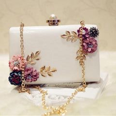 Fashion Women Leather Evening Bag Dinner Party Lady Wedding Flower Clutch Purse(white)
