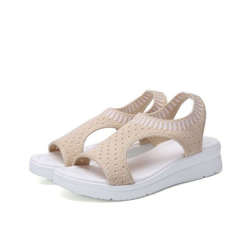WDZKN 2019 Sandals Women Summer Shoes Peep Toe Casual Flat Sandals Ladies Breathable Air Mesh Women Platform Sandals Sandalias