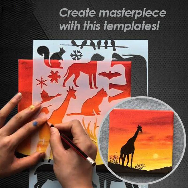 Fast Draw Stencil Art Templates( 12 Sheets/Set )