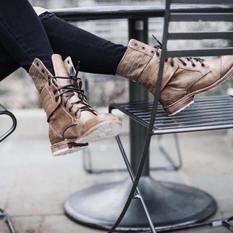 Retro Lace Up Short Boots