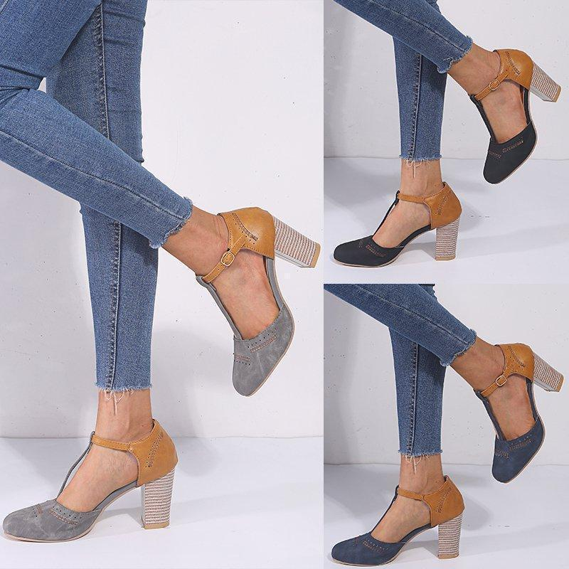 Heeled Sandals with T-Shaped Strap
