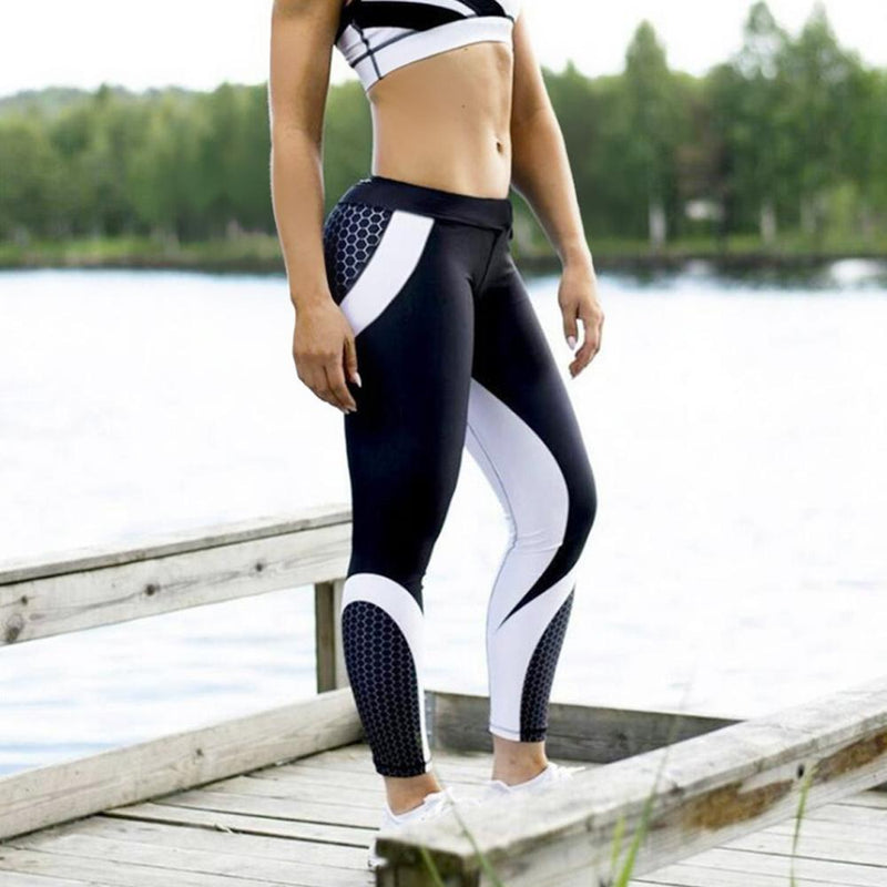 High Waist  Geometric Printed Yoga Pants