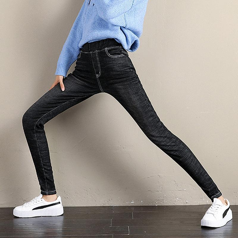 Fleece-Lined Denim Leggings
