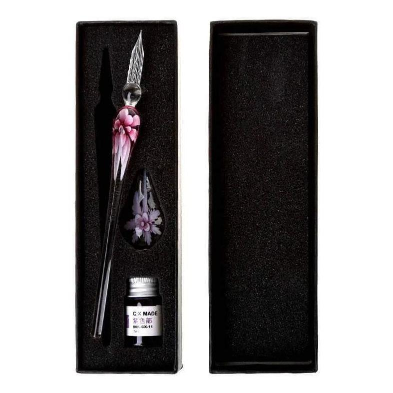 Glass Calligraphy Pen Set with Ink and Pen Rest