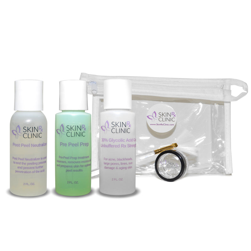 Glycolic Peel Kit #1 includes: 30% Glycolic Peel, Pre Peel Prep, Post Peel Neutralizer, Applicator Brush, & Dish in a Zip-up Case 2oz size