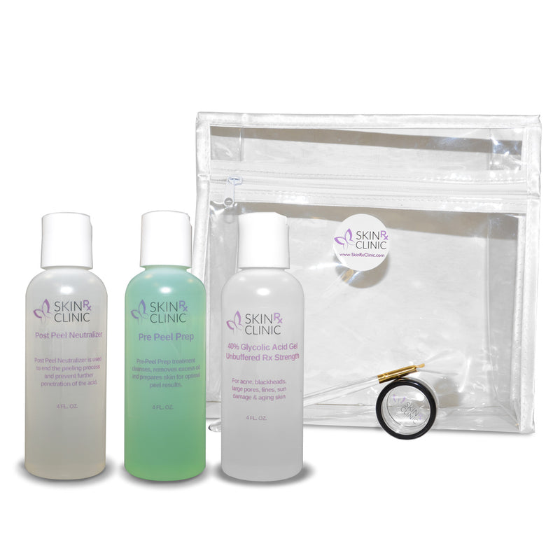 Glycolic Peel Kit #4 includes: 40% Glycolic Peel, Pre-Peel Prep, Post-Peel Neutralizer, Applicator Brush, Dish and a Zip-up Case 4oz size