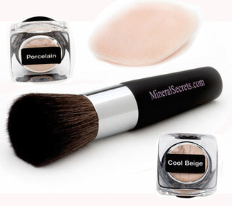 4 Pc Mineral starter Kit: Loose Base, Porcelain Finishing Powder, Flocked sponge, Dome Brush