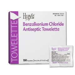 Anti-Bacterial Benzalkonium Chloride Wipes-Hygea 100 per box