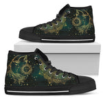 Sun & Moon Handcrafted - Black Sole High Top Canvas Shoes