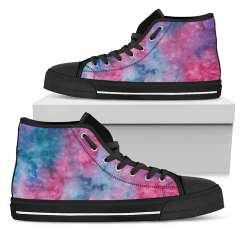 Pink Watercolor - Black Sole High Top Canvas Shoe