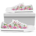 Watercolor Floral - White Sole Low Top Canvas Shoes