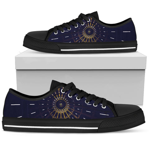 Abstract Art - Black Sole Low Top Canvas Shoe