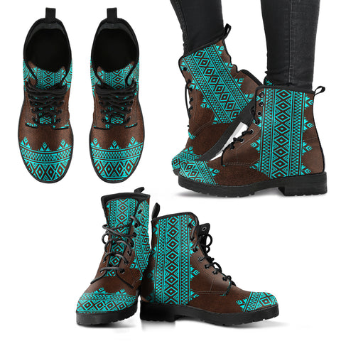 Ethnic Turquoise Vibes Leather Boots