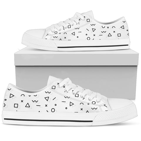 Minimal Geometric Shapes - White Sole Low Top Canvas