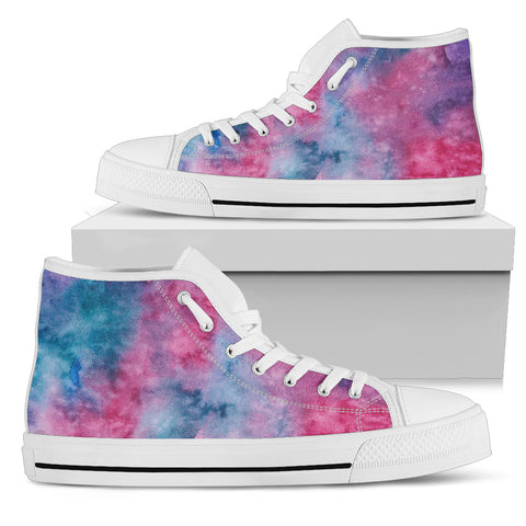 Pink Watercolor - White Sole High Top Canvas Shoe
