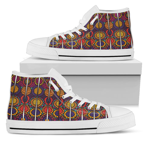 Tribal Spirit - White Sole High Top Canvas Shoe