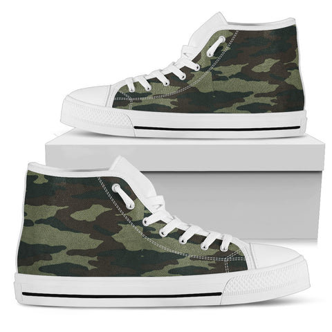 Camouflage - White Sole High Top Canvas Shoe