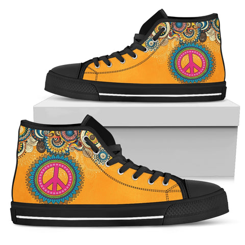 Peace Vibrations - Black Sole High Top Canvas Shoes