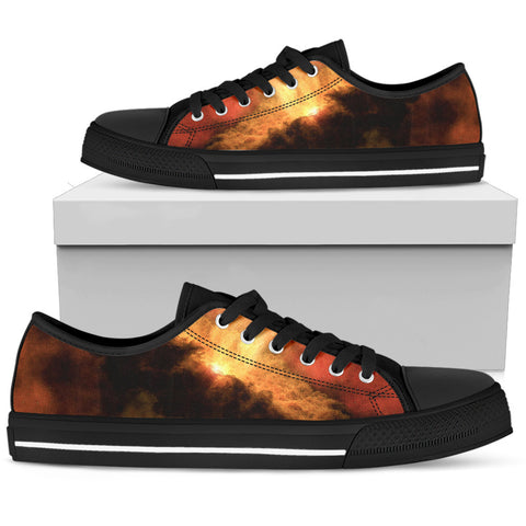 Fire in the sky - Black Sole Low Top Canvas Shoe