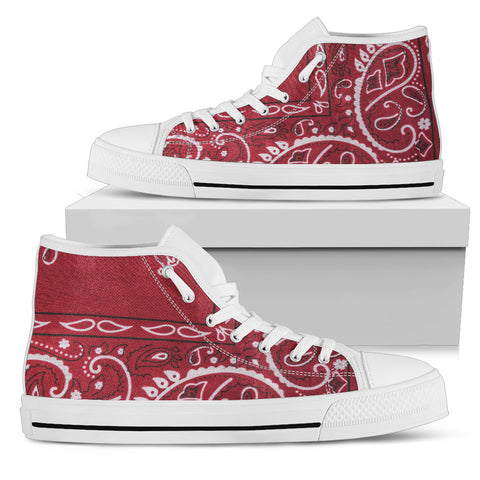 Red Bandana - White Sole High Top Canvas Shoe