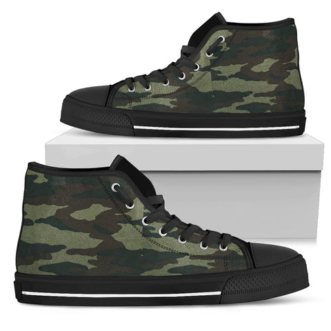 Camouflage - Black Sole High Top Canvas Shoe