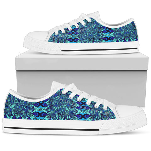 Blue Kaleidoscope - White Sole Low Top Canvas Shoes