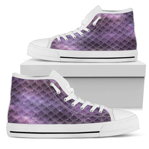 Aglow like Amethyst - White Sole High Top Canvas Shoe