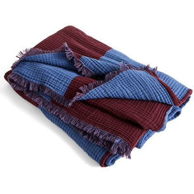 Crinkle Stripe Plaid Burgundy