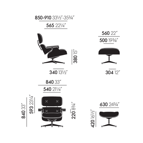Eames Lounge Chair & Ottoman (new larger dimensions)