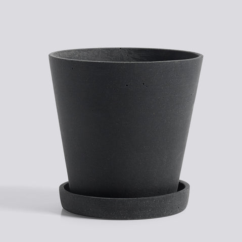 Flowerpot with Saucer Medium Black