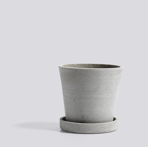 Flowerpot with Saucer Small Grey