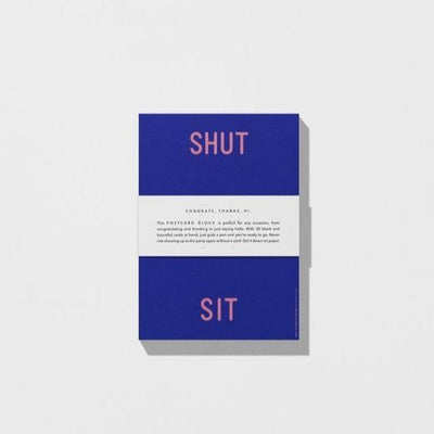Playtype Postcard Block Shut Up Sit Down