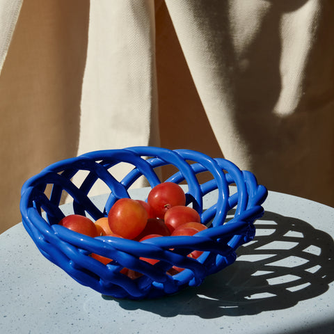 Sicilia Ceramic Basket Large Blue