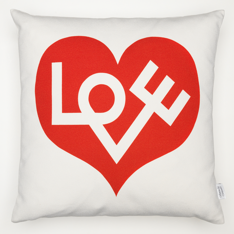 Love Red Graphic Print Cushion