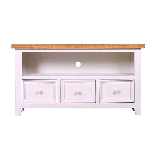 wooden trestle entertainment tv unit cabinet white natural Bayswater Collection The Bed Shop