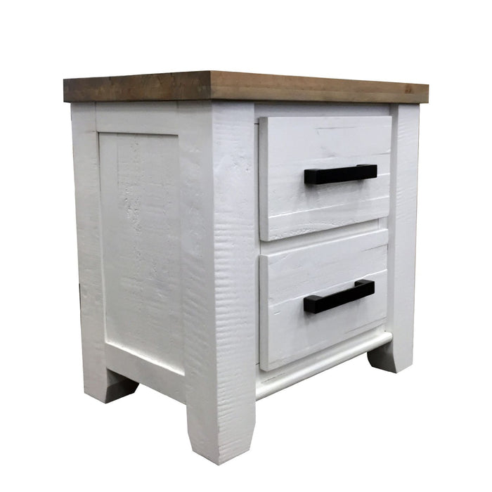 White bedside table with two drawers Harlow Collection The Bed Shop