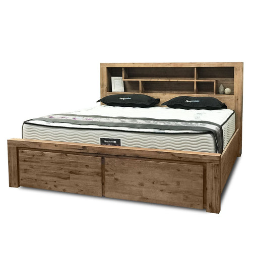 natural wood bedframe with 2 drawer storage and headboard Cape Collection The Bed Shop