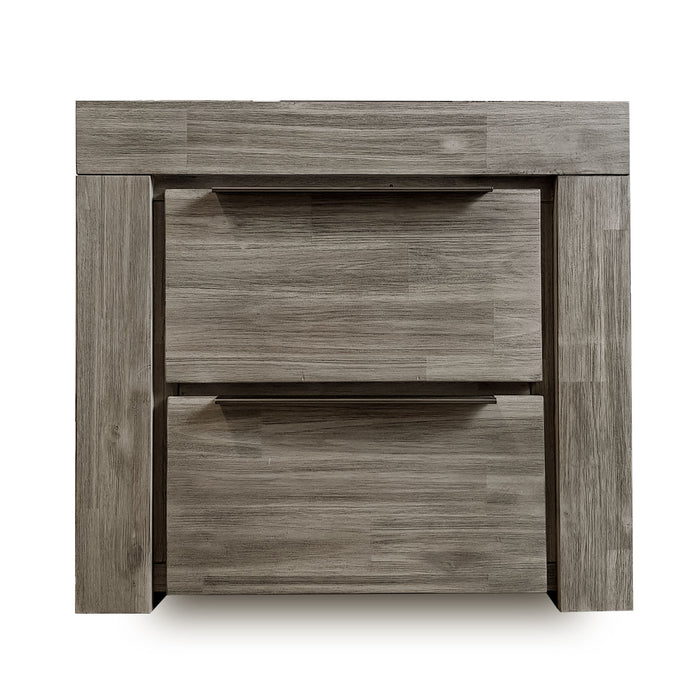 grey modern wood bedside 2 drawer Arctic Collection The Bed Shop