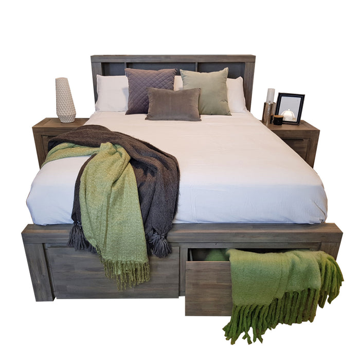 Grey wooden bed frame with storage drawers and headboard Arctic collection The Bed Shop